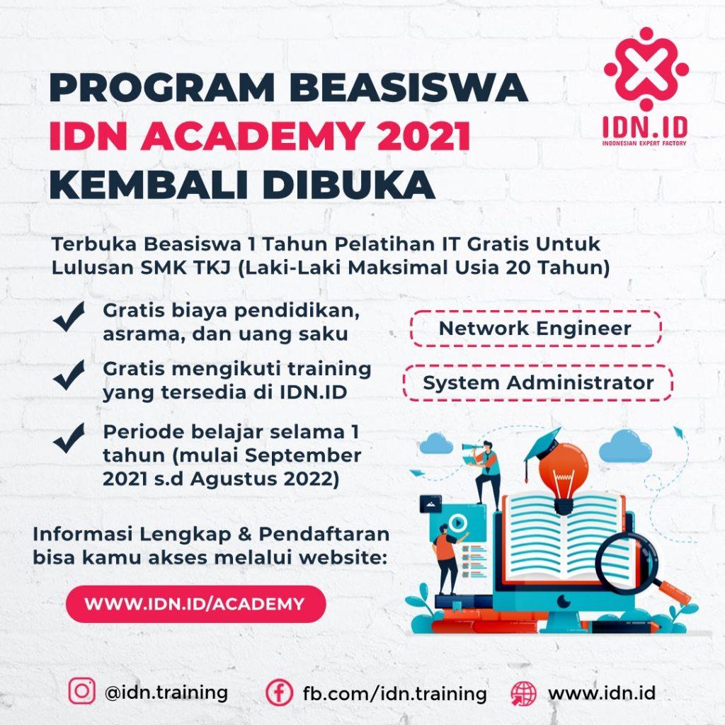 1. Seleksi Beasiswa IDN Academy 2021